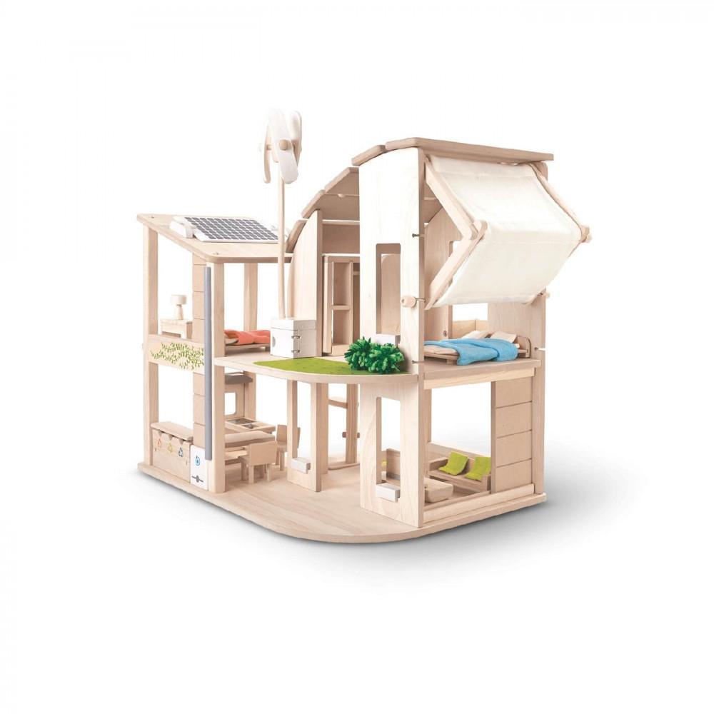 PlanToys Puppenhaus Öko möbliert