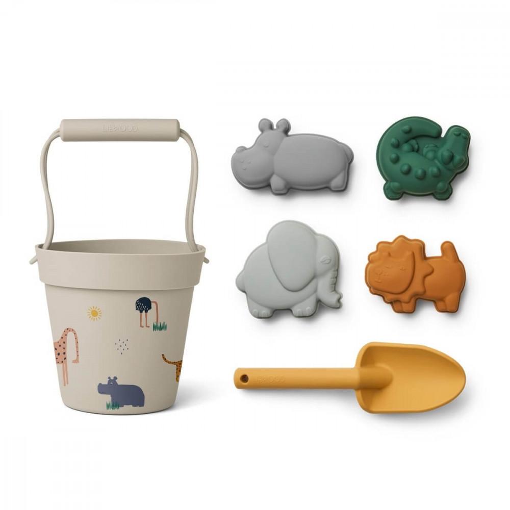 Liewood Silikon Sandspielzeug-Set Dante Safari sandy multi mix