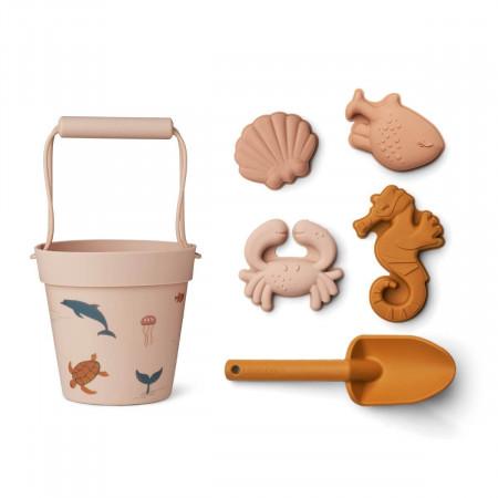 Liewood Silikon Sandspielzeug-Set Dante Sea creature rose