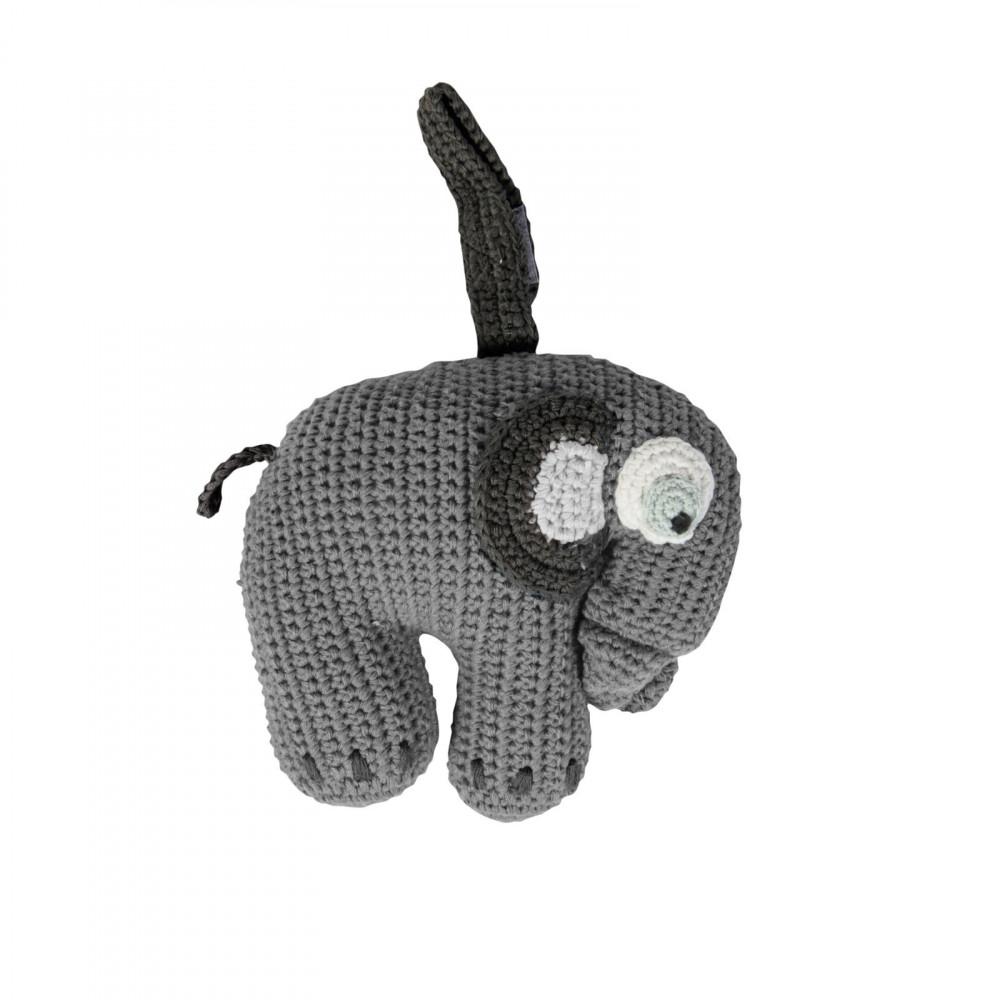 Sebra Häkel-Spieluhr Elephant in grau