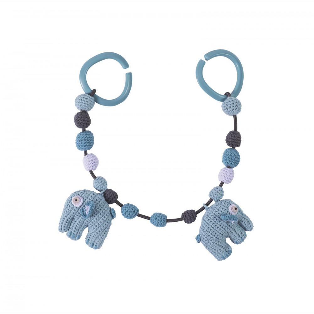 Sebra Häkel-Kinderwagenkette Elefant in wolkenblau