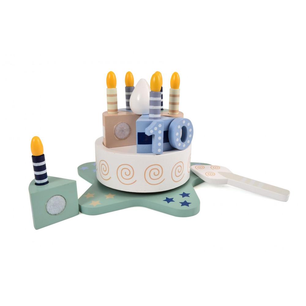 Magni Geburtstagskuchen aus Holz mit Musik und Zahlen von 0-9