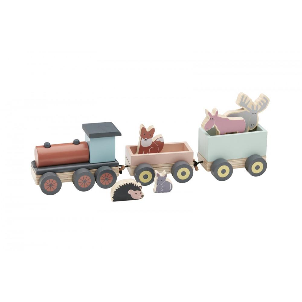 Kids Concept Zug mit Waldtieren aus Holz