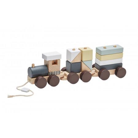 Kids Concept Nachzieh-Zug mit Holzbausteinen