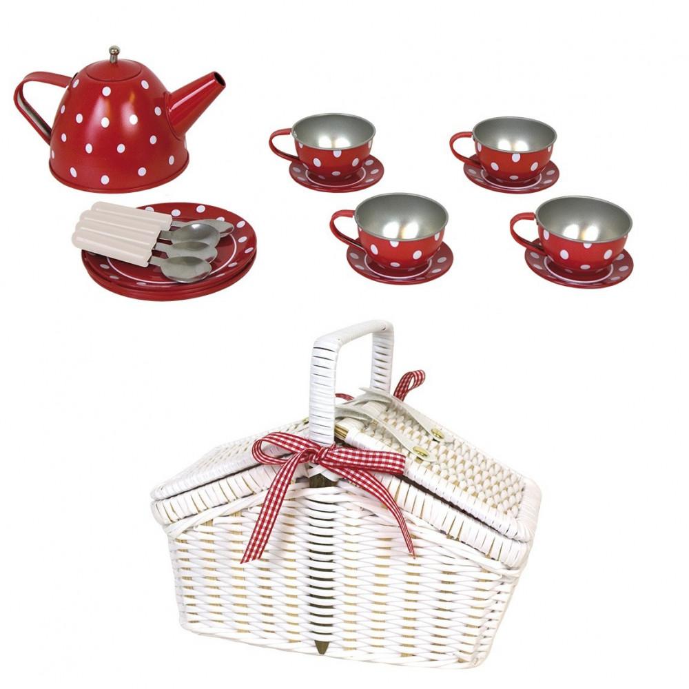 JaBaDaBaDo Picknickkorb mit Teeservice aus Blech