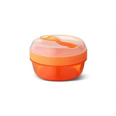 Carl Oscar N'ice Cup, Kleine Snackdose mit Kühlakku, inkl. Besteck, Orange
