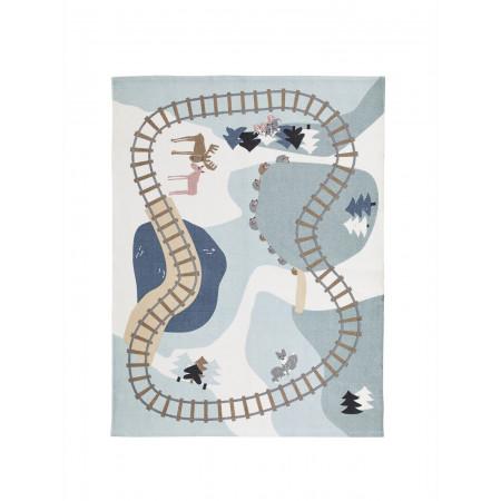 Kids Concept Spielteppich Wald Edvin, Blau 130 x 170 cm