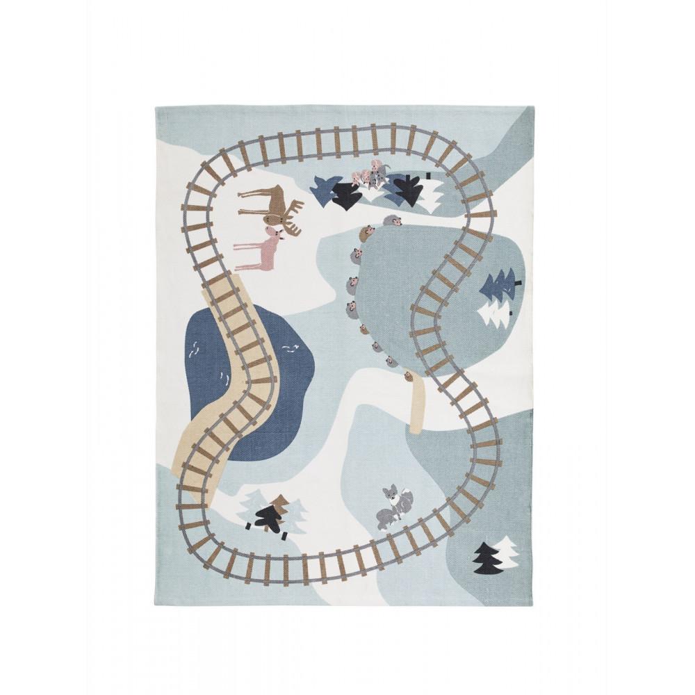 Kids Concept Kinderteppich Wald Edvin, Blau 130 x 170 cm