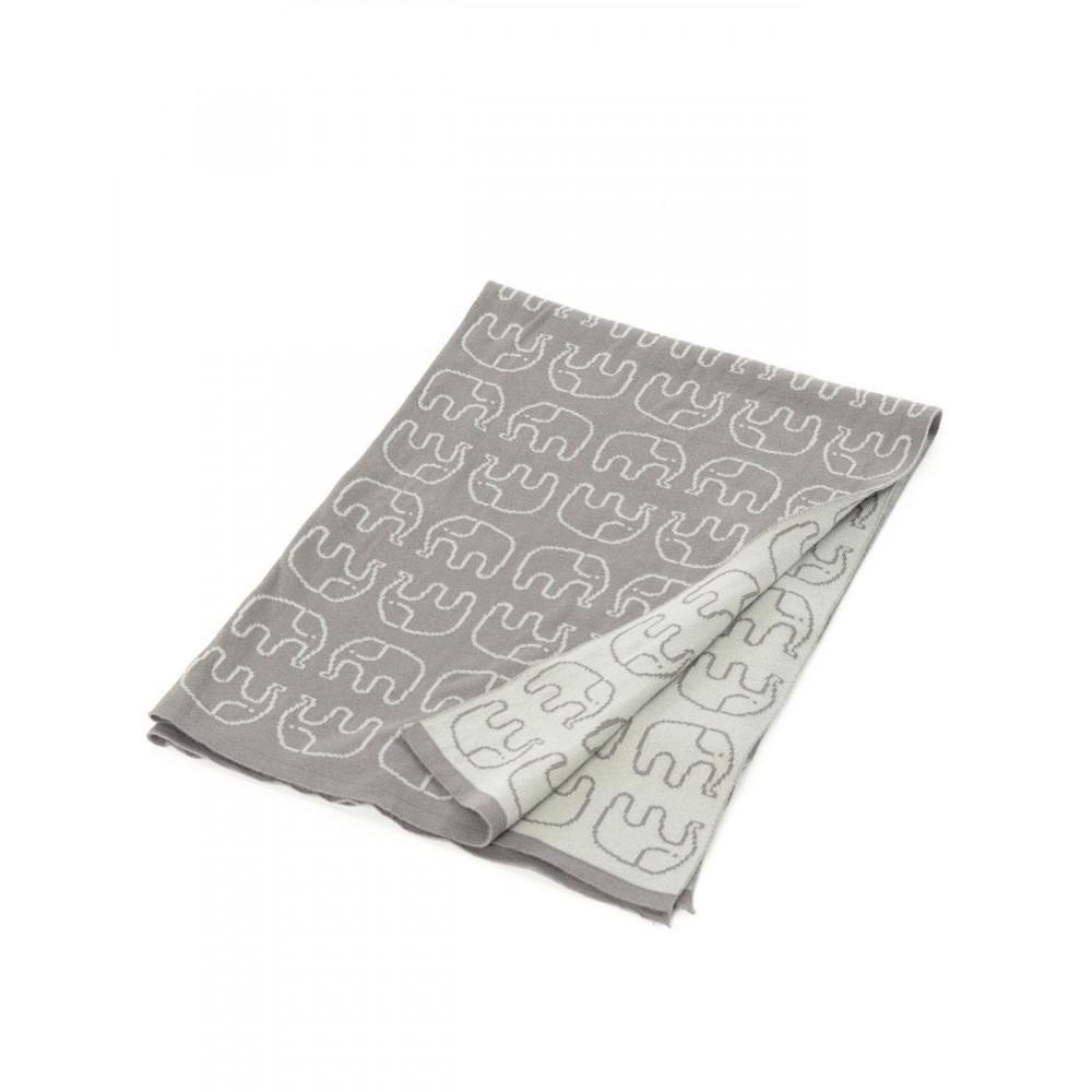 Smallstuff Babydecke Elefanten, grau aus Bio-Baumwolle