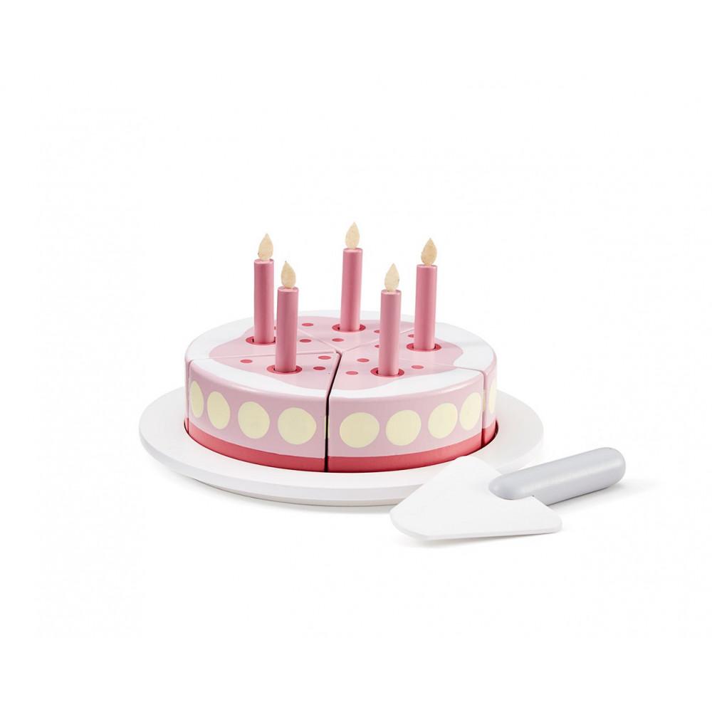 Kids Concept Geburtstagskuchen aus Holz, rosa