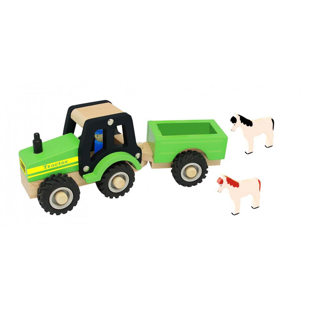 Magni Traktor mit Anhänger und Tieren aus Holz