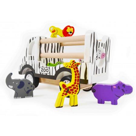 Magni Zoo Auto mit Tieren aus Holz