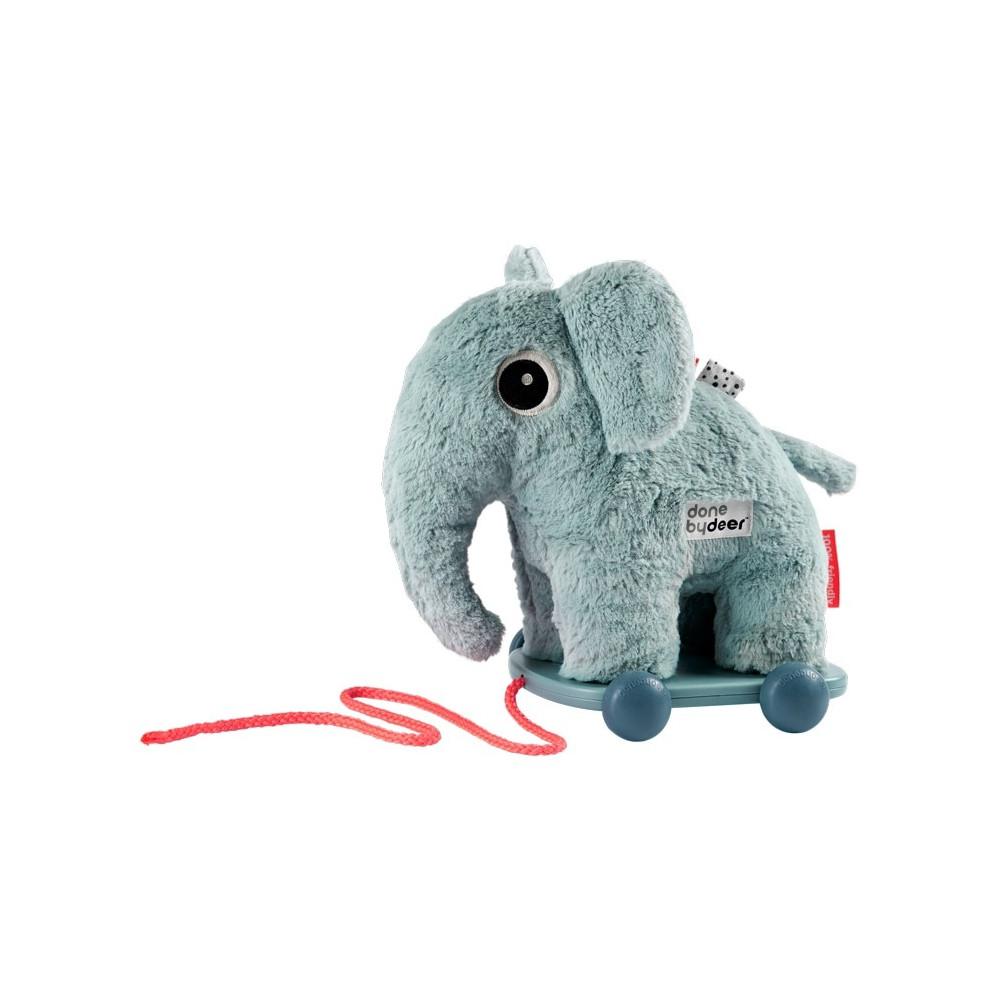 Done by Deer Großes Nachziehtier Elefant 28 cm, blau