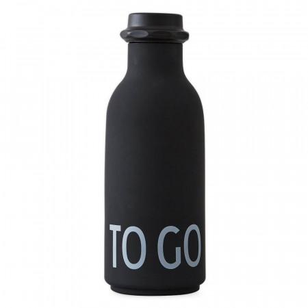 """Design Letters Wasserflasche """"To go"""" Schwarz"""