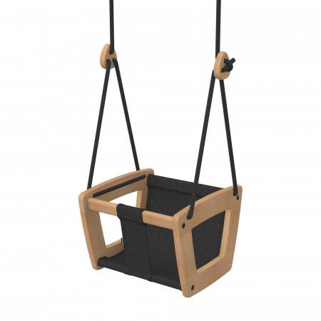 Lillagunga Babyschaukel aus Holz, Eiche - schwarz