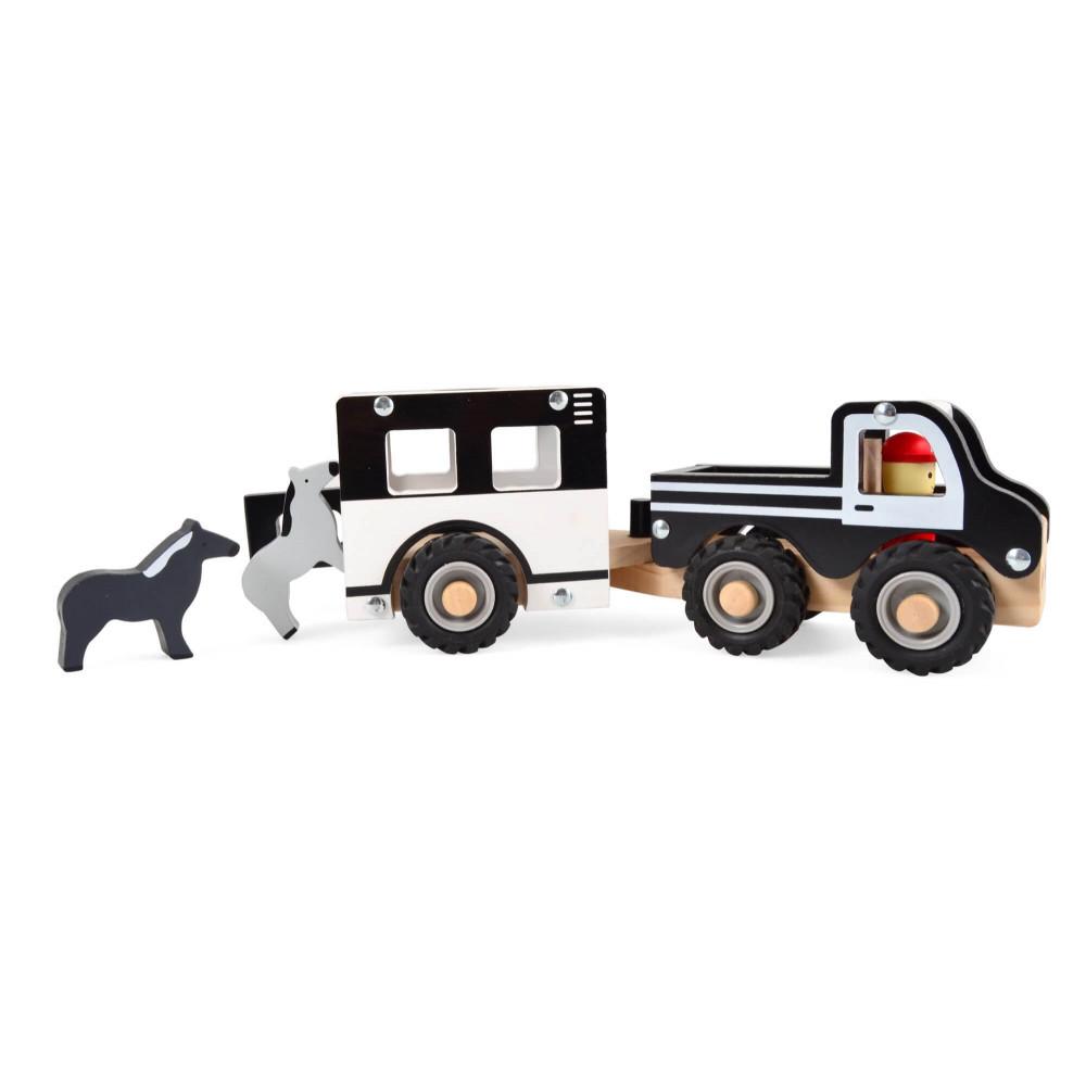Magni Auto mit Pferdeanhänger und Pferden aus Holz