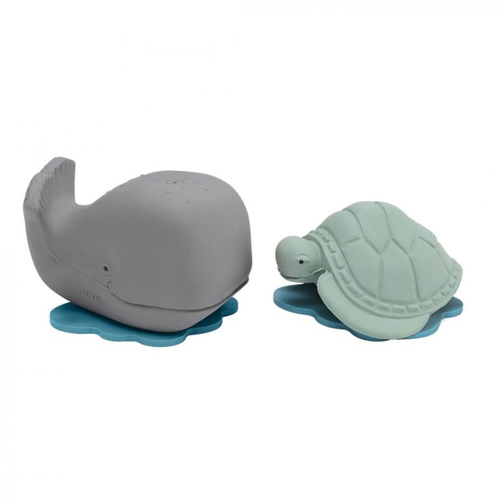 Hevea Badespielzeug Set Wal & Schildkröte aus Naturkautschuk