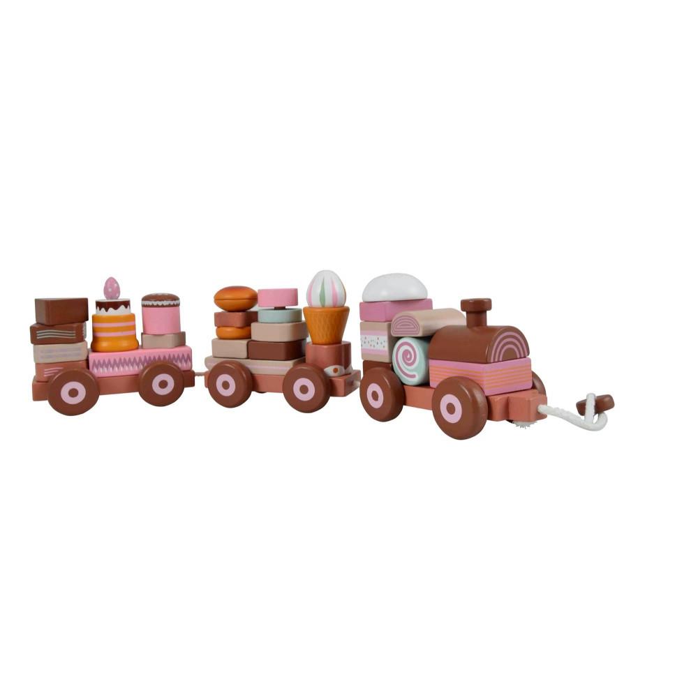Magni Großer Holzzug mit Süßigkeiten / Stapelspiel