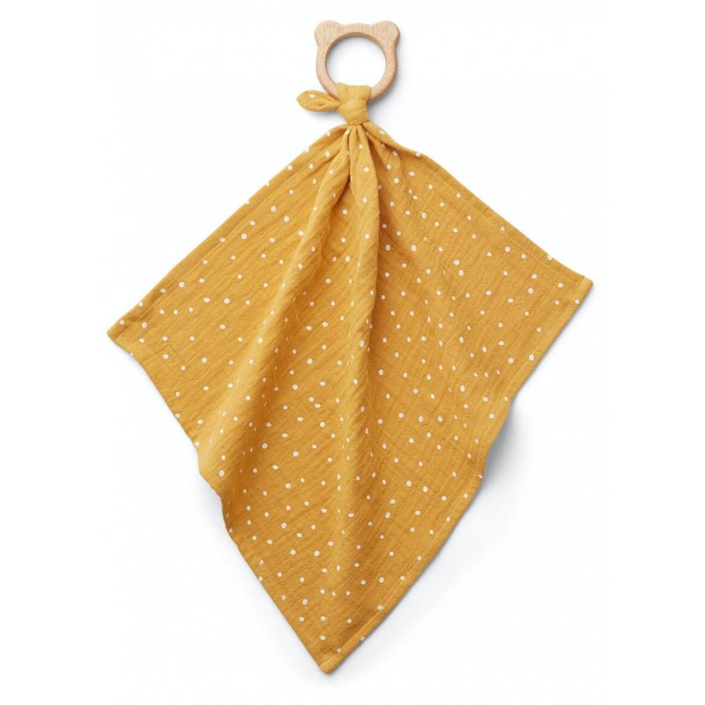 Liewood Kuscheltuch Dines mit Beißring Confetti Gelb