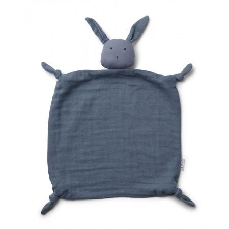 Liewood Kuscheltuch aus Bio-Baumwolle, Hase blau