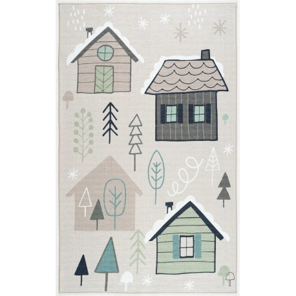 ScandicLiving Teppich Häuser, print 100x160 cm