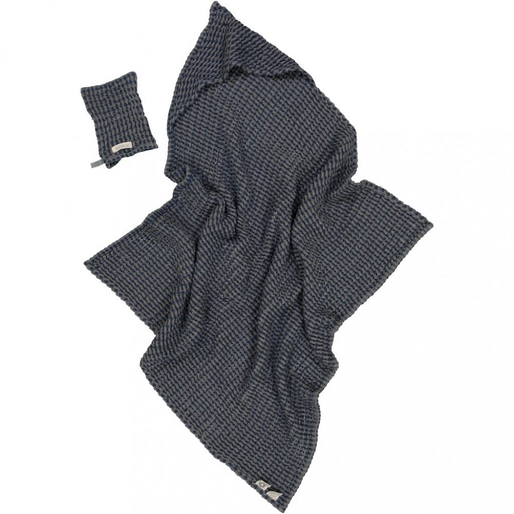 Hildestad Kapuzenbadetuch & Waschlappen in Waffelstruktur, Stormy Blue
