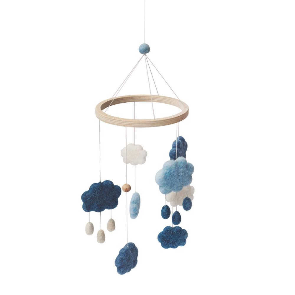 Sebra Wolken Mobile aus Filz, denim blue