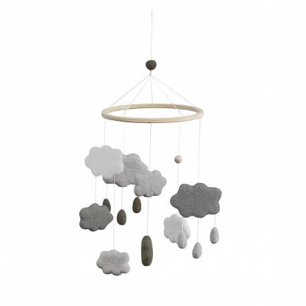 Sebra Wolken Mobile aus Filz, warm grey