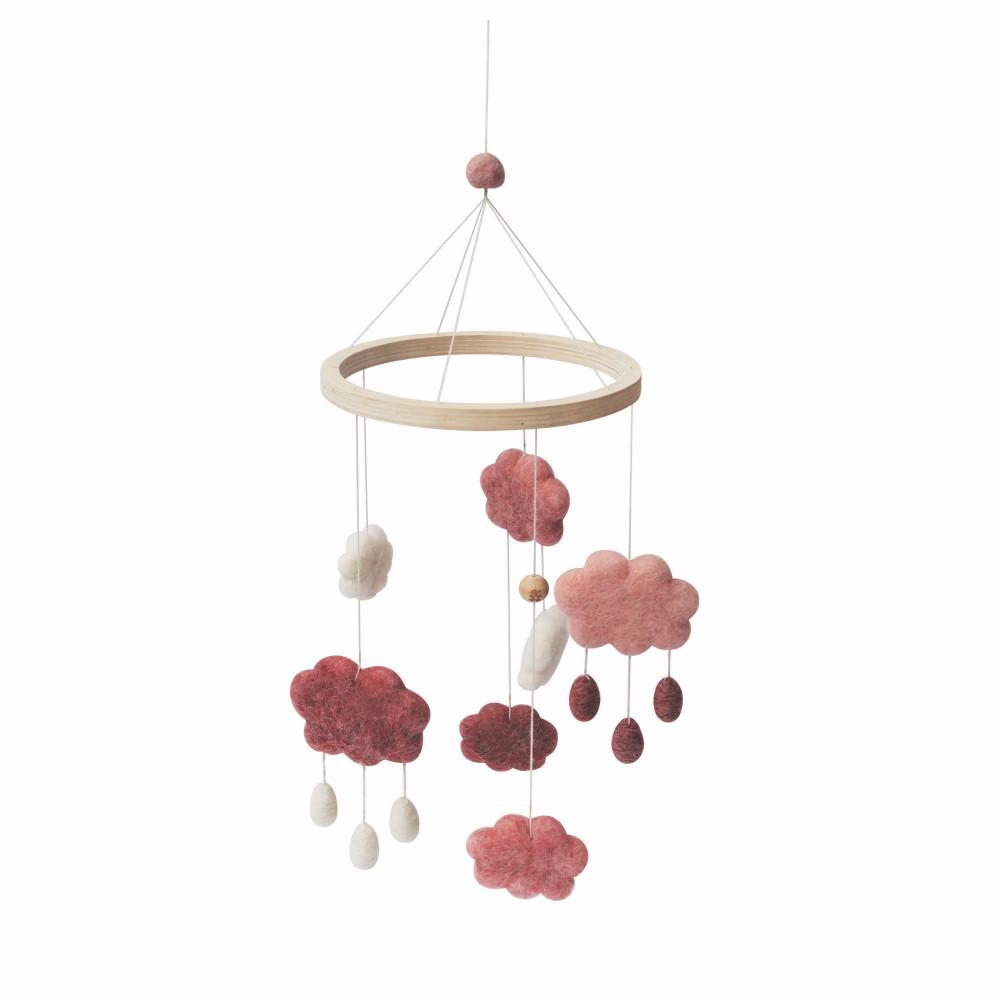 Sebra Wolken Mobile aus Filz, cotton candy pink