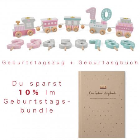 Bundle Geburtstagszug pastell rosa & Geburtstagsbuch