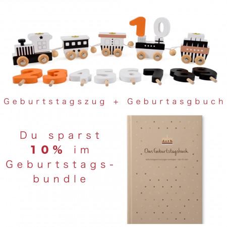 Bundle Geburtstagszug schwarz/weiß & Geburtstagsbuch