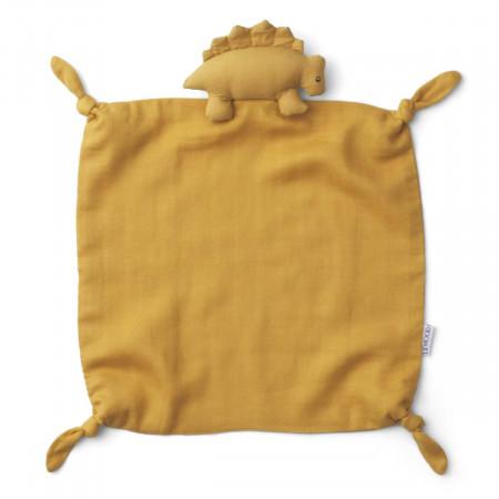 Liewood Kuscheltuch aus Bio-Baumwolle, Dino yellow mellow