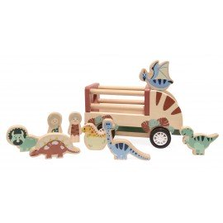 Magni Rückziehauto mit Dinos aus Holz