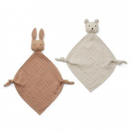 Liewood Yoko Kuscheltuch-Teddy 2er pack Tuscany rose / Sandy mix