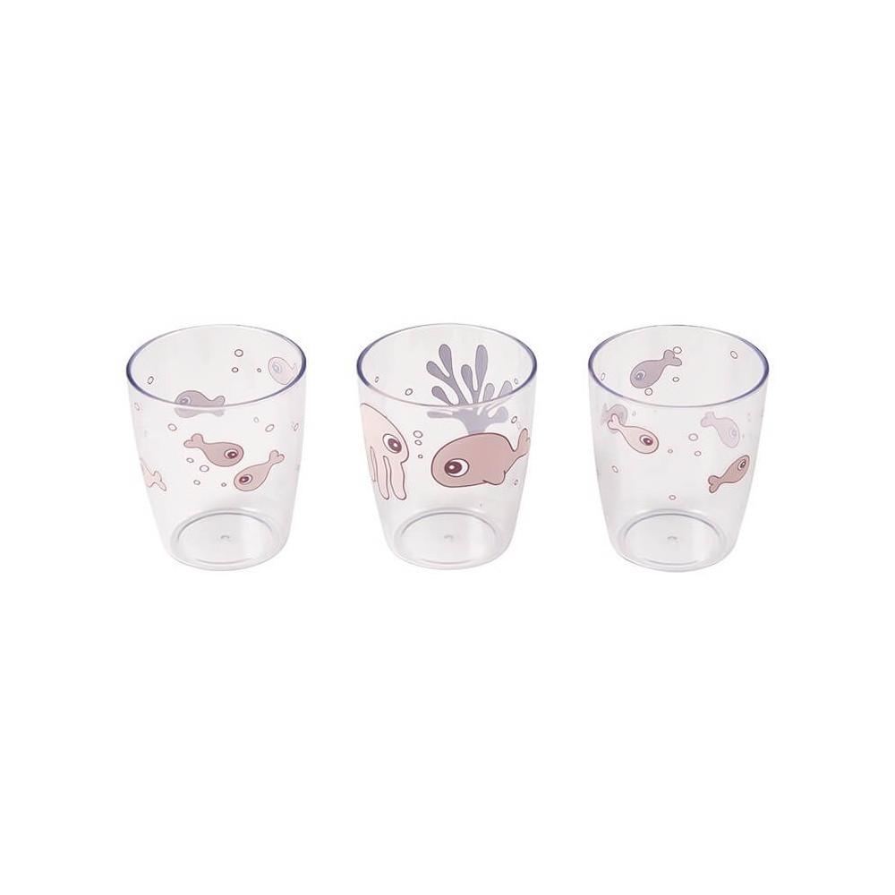 Done by Deer Kinder Glas Set Yummy Mini, Sea friends, rosa