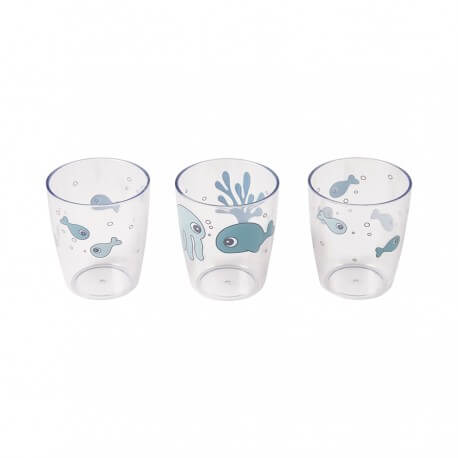 Done by Deer Kinder Glas Set Yummy Mini, Sea friends, blau