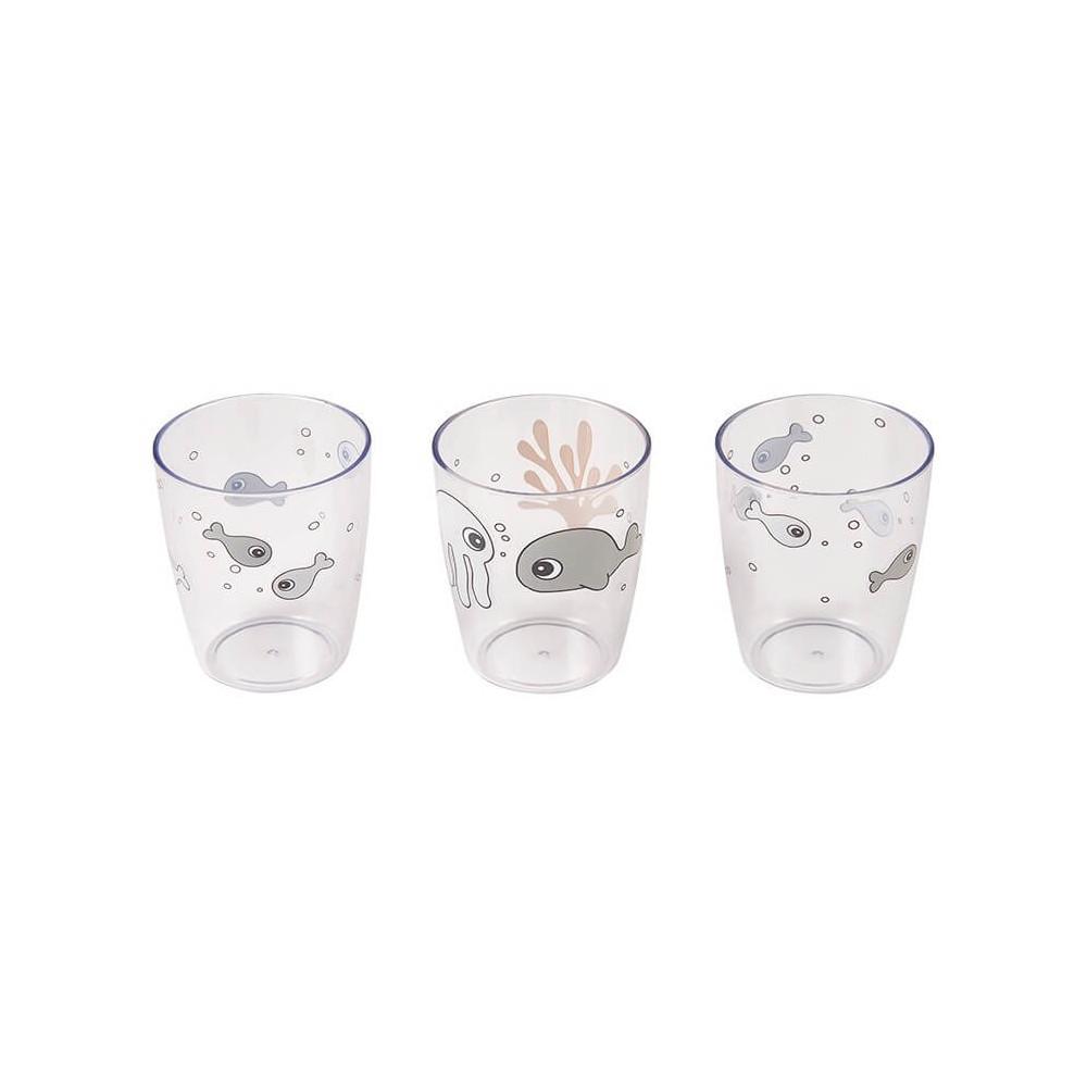 Done by Deer Kinder Glas Set Yummy Mini, Sea friends, senfgelb
