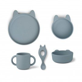 Liewood Silikongeschirr-Set Vivi Hase, sea blue