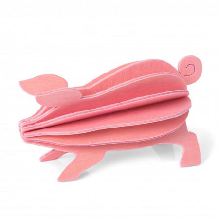 Lovi Holzfigur Glücksschwein, 6 cm pink