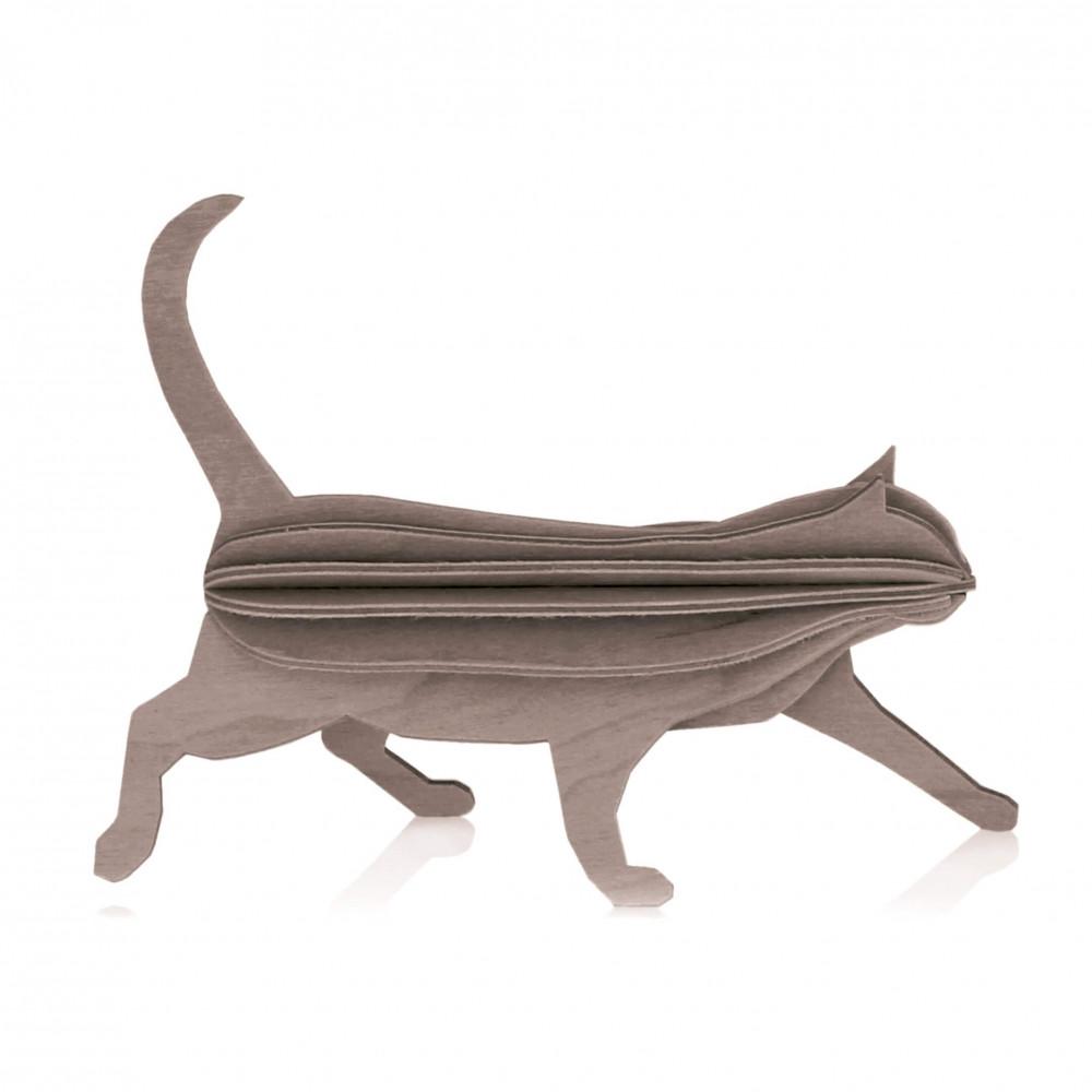 Lovi Holzfigur Katze 12 cm grau