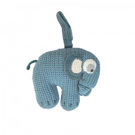Sebra Häkel-Spieluhr Elephant in wolkenblau