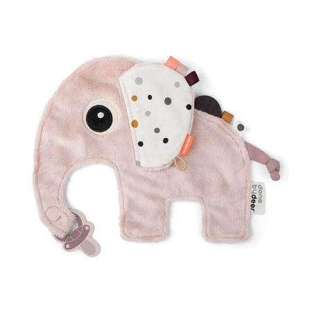 Done by Deer Kuscheltuch Elefant mit Schnullerbefestigung rosa