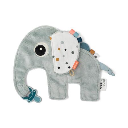Done by Deer Kuscheltuch Elefant mit Schnullerbefestigung blau