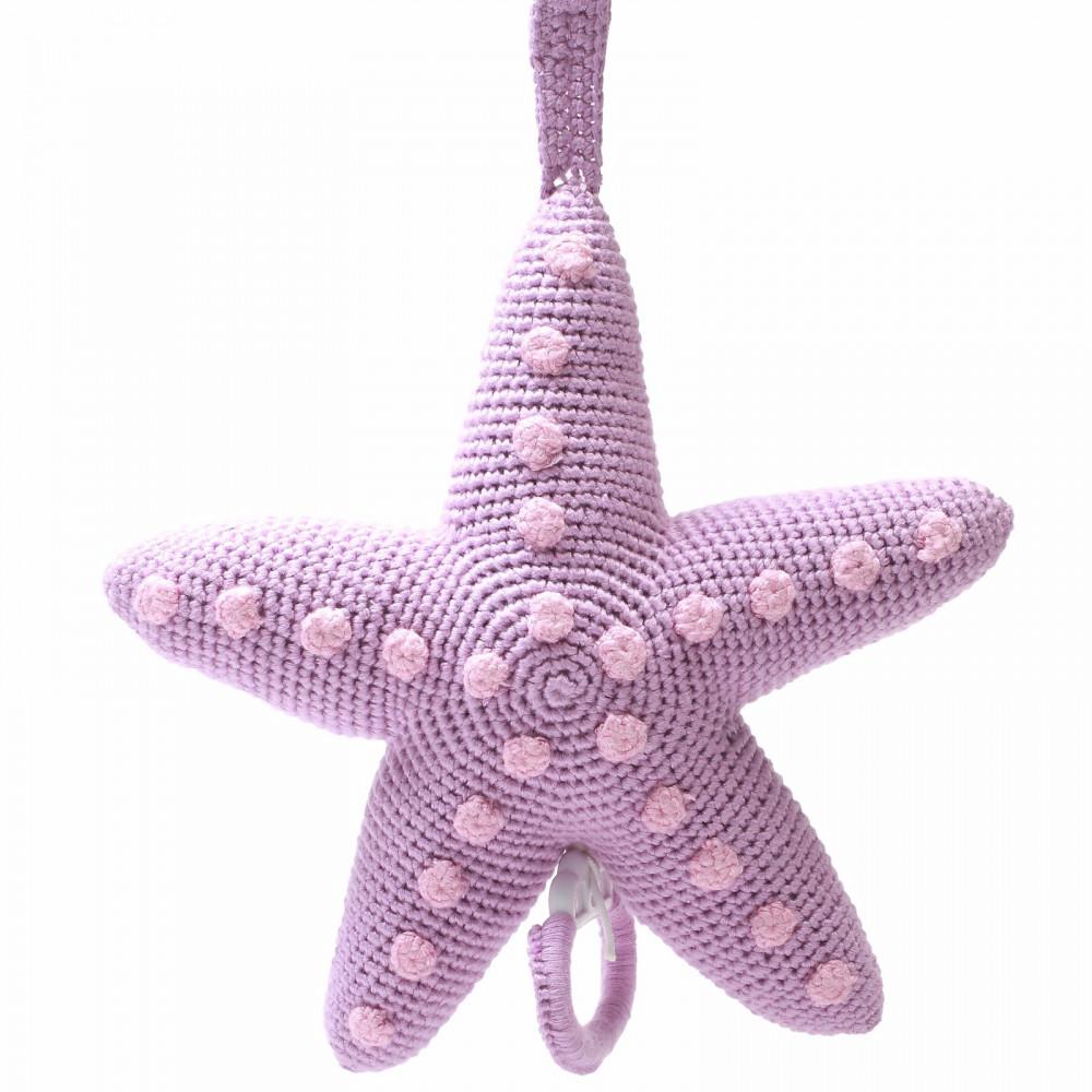 Naturezoo Häkel Spieluhr aus Bambusgarn, Miss Seastar lila