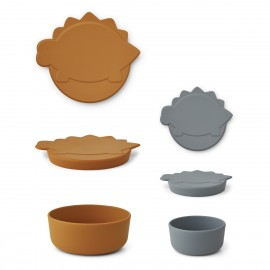 Liewood Snackbox 2er Set Olav, blue wave/mustard mix